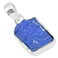 6.91cts natural blue tanzanite raw 925 sterling silver pendant jewelry r91706