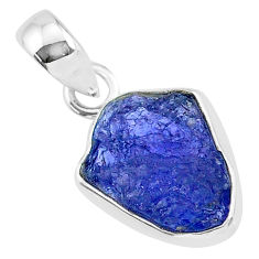 6.51cts natural blue tanzanite raw 925 sterling silver pendant jewelry r91709