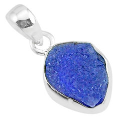 6.53cts natural blue tanzanite raw 925 sterling silver pendant jewelry r91711