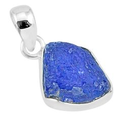 6.91cts natural blue tanzanite raw 925 sterling silver pendant jewelry r91716