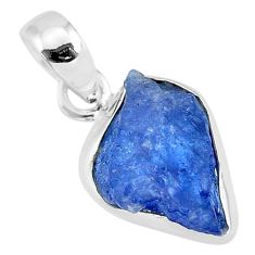 6.47cts natural blue tanzanite raw 925 sterling silver pendant jewelry r91717