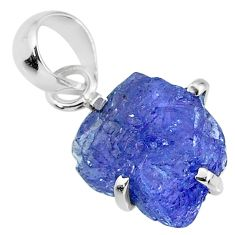 6.89cts natural blue tanzanite raw 925 sterling silver pendant jewelry r91721