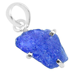6.83cts natural blue tanzanite raw 925 sterling silver pendant jewelry r91723