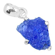 7.18cts natural blue tanzanite raw 925 sterling silver pendant jewelry r91725