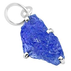 6.99cts natural blue tanzanite raw 925 sterling silver pendant jewelry r91733