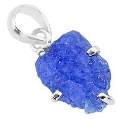 6.45cts natural blue tanzanite raw 925 sterling silver pendant jewelry r91741