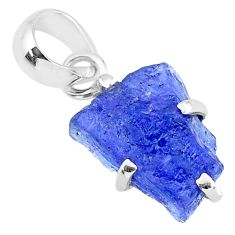 7.16cts natural blue tanzanite raw 925 sterling silver pendant jewelry r91744