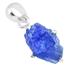 7.26cts natural blue tanzanite raw 925 sterling silver pendant jewelry r91745