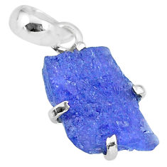6.70cts natural blue tanzanite raw 925 sterling silver pendant jewelry r91749