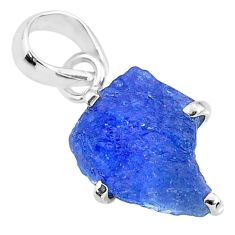 6.67cts natural blue tanzanite raw 925 sterling silver pendant jewelry r91752