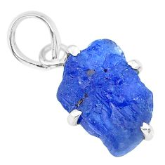 7.64cts natural blue tanzanite raw 925 sterling silver pendant jewelry r91757