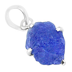 7.10cts natural blue tanzanite raw 925 sterling silver pendant jewelry r91759