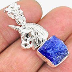 7.12cts natural blue tanzanite raw 925 sterling silver unicorn pendant t17148