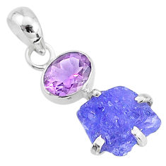 6.51cts natural blue tanzanite raw amethyst 925 sterling silver pendant t6964