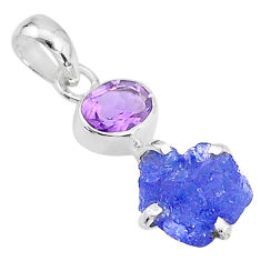 6.65cts natural blue tanzanite raw amethyst 925 sterling silver pendant t6966