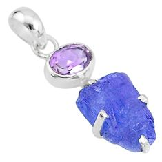 7.04cts natural blue tanzanite raw amethyst 925 sterling silver pendant t6989