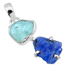 9.80cts natural blue tanzanite raw aquamarine raw 925 silver pendant t10879