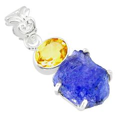 13.15cts natural blue tanzanite raw citrine 925 sterling silver pendant r83103