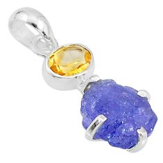 8.39cts natural blue tanzanite raw citrine 925 sterling silver pendant t6973