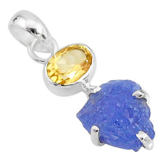6.92cts natural blue tanzanite raw citrine 925 sterling silver pendant t6977