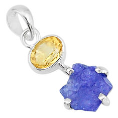 6.95cts natural blue tanzanite raw citrine 925 sterling silver pendant t6995