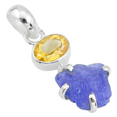 7.04cts natural blue tanzanite raw citrine 925 sterling silver pendant t6996