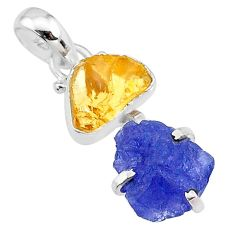 8.69cts natural blue tanzanite raw citrine raw 925 silver pendant t10893