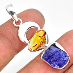 9.99cts natural blue tanzanite raw citrine rough 925 silver pendant r80806