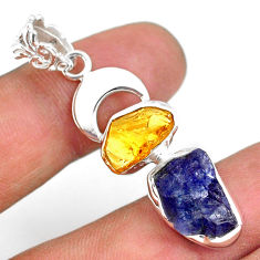 11.19cts natural blue tanzanite raw citrine rough 925 silver pendant r80807