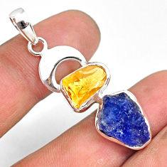 11.15cts natural blue tanzanite raw citrine rough 925 silver pendant r80810