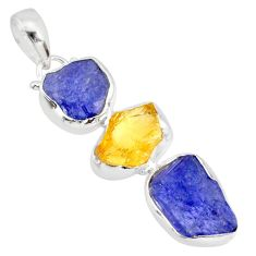 14.14cts natural blue tanzanite raw citrine rough 925 silver pendant r83087