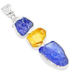 14.45cts natural blue tanzanite raw citrine rough 925 silver pendant r83089