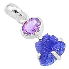 5.70cts natural blue tanzanite raw fancy amethyst 925 silver pendant t6965
