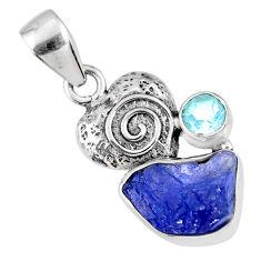 7.50cts natural blue tanzanite rough fancy topaz 925 silver heart pendant r61966