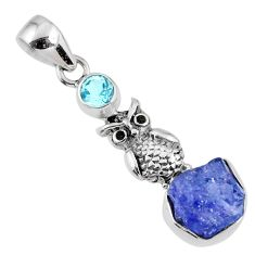 6.03cts natural blue tanzanite rough fancy topaz 925 silver owl pendant r61986