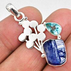 8.44cts natural blue tanzanite rough fancy topaz 925 silver pendant r62007