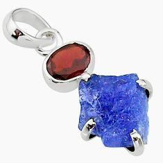 9.02cts natural blue tanzanite raw garnet 925 sterling silver pendant t15314