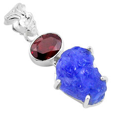 14.72cts natural blue tanzanite raw garnet 925 sterling silver pendant t6448