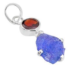 7.50cts natural blue tanzanite raw garnet 925 sterling silver pendant t6981