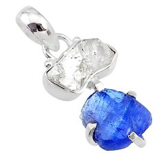 7.85cts natural blue tanzanite raw herkimer diamond 925 silver pendant t10902