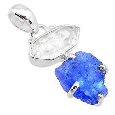 8.71cts natural blue tanzanite raw herkimer diamond 925 silver pendant t10906