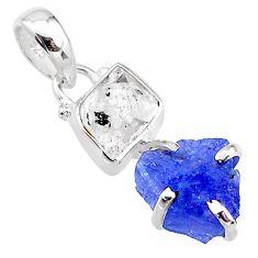 8.76cts natural blue tanzanite raw herkimer diamond 925 silver pendant t10907