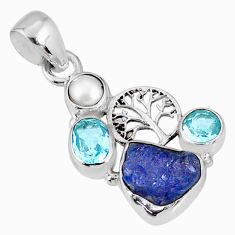 9.37cts natural blue tanzanite rough pearl silver tree of life pendant r62137