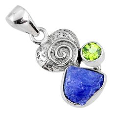 5.54cts natural blue tanzanite rough peridot 925 sterling silver pendant r61981