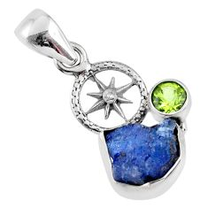 5.55cts natural blue tanzanite rough peridot 925 sterling silver pendant r61982