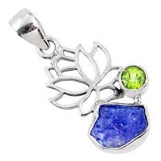 5.79cts natural blue tanzanite rough peridot 925 sterling silver pendant r61985