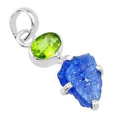 7.23cts natural blue tanzanite rough peridot 925 sterling silver pendant t10790