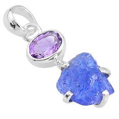7.43cts natural blue tanzanite raw purple amethyst 925 silver pendant t6987