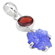 7.50cts natural blue tanzanite raw red garnet 925 silver pendant t6985