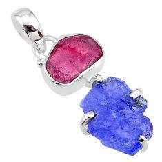 8.83cts natural blue tanzanite raw ruby raw 925 silver pendant t10918